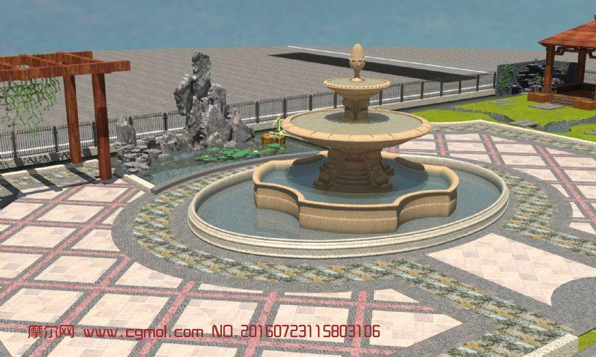 园林景观场景设计,公园喷泉