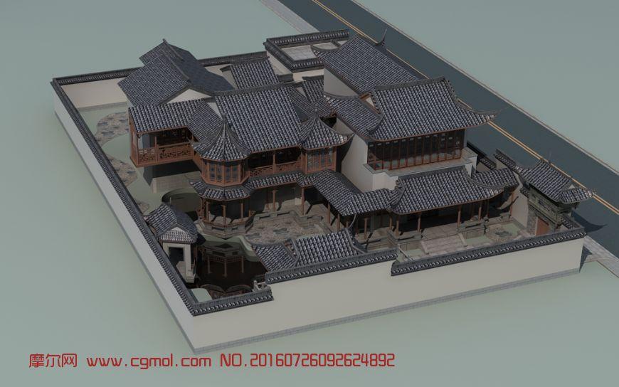 中式高端max庭院,中式建筑,建筑模型,3d模型下西安模型室内设计公司哪家好图片