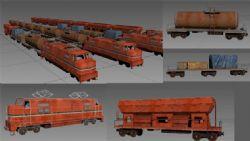 火车机头/油罐车厢/装煤厢/平板/ 木架/不同车厢任意组合