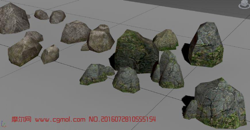 场景模型 自然场景  标签:山石石头石堆 作品描述:该模型采用游戏模型