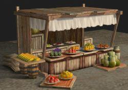 古代水果摊场景