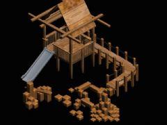滑滑梯,跷跷板等木制玩具设施