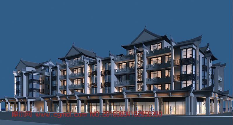 中式商业街max模型