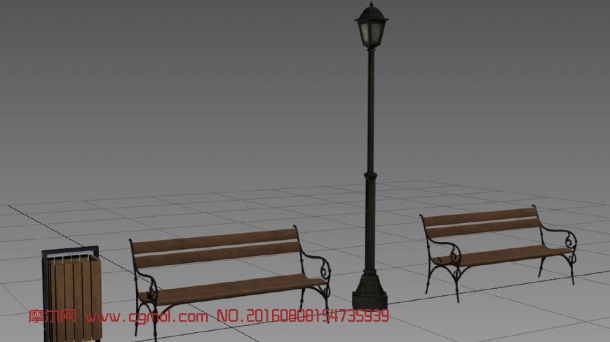 休息椅+路灯+垃圾桶  公园 道路场景道具三件套