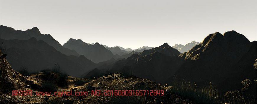 大山日出薄雾生态场景3D模型,有动画