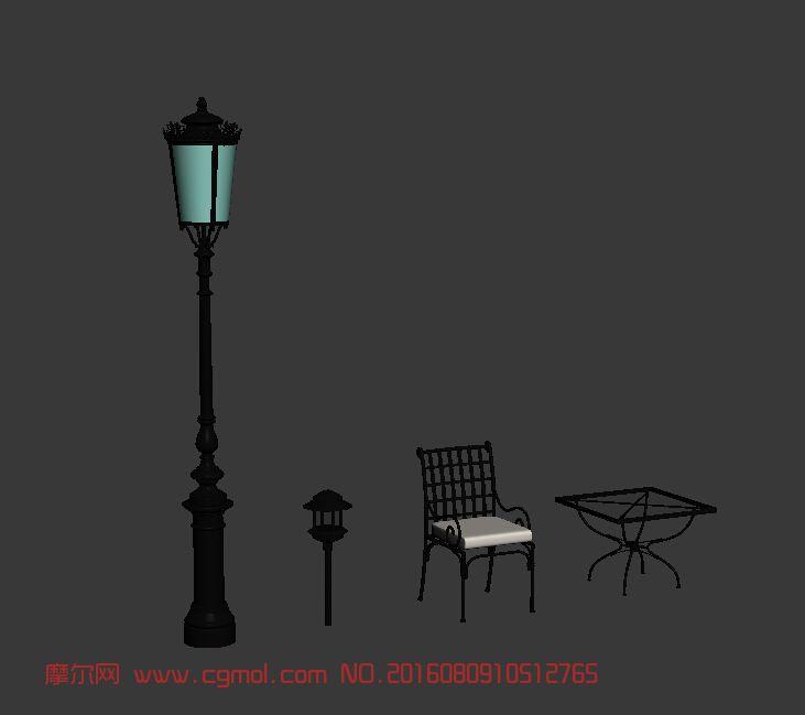 欧式庭院灯草坪灯休闲桌椅,现代场景,场景模型,3d模型