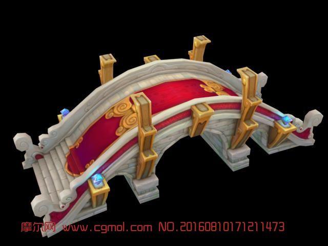 场景模型 古代场景  标签:手绘低模q版石桥动漫 作品描述:手绘q版石桥