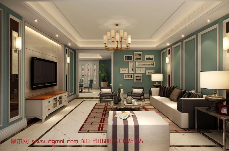 现代欧式简约欧式客厅图片