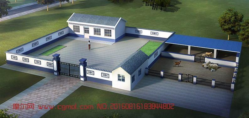 建筑模型 其他建筑  标签:民房新农村房子养殖场羊圈院子民房住宅