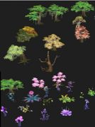 20几款手绘卡通植物花朵,奇异花3D模型