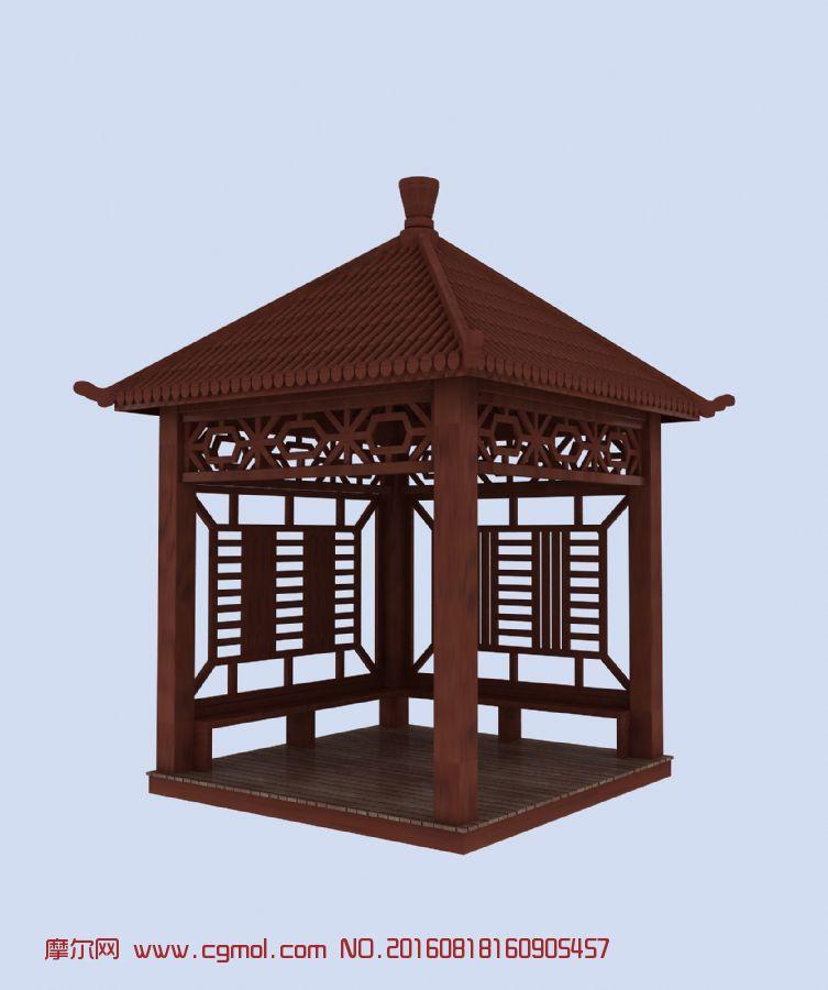 建筑模型 其他建筑  标签:园林小品四角亭木艺庭院亭子凉亭木亭 作品