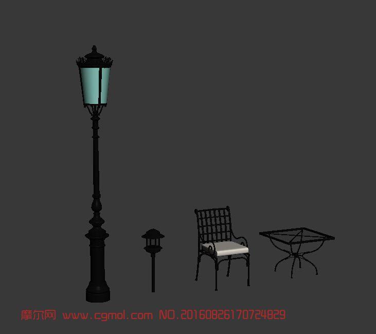 场景模型 现代场景  标签:欧式园林路灯桌椅小品 作品描述:欧式小品