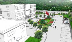 工厂办公楼及周边环境模型(无树木背景)