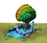 七彩树,水晶,水池场景