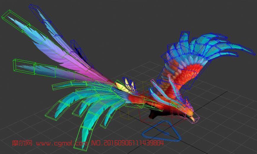 彩凤,max,maya各有绑定,带飞行动画,max,mb双格式
