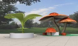 蘑菇,树叶形状的售卖亭,艺术雕塑