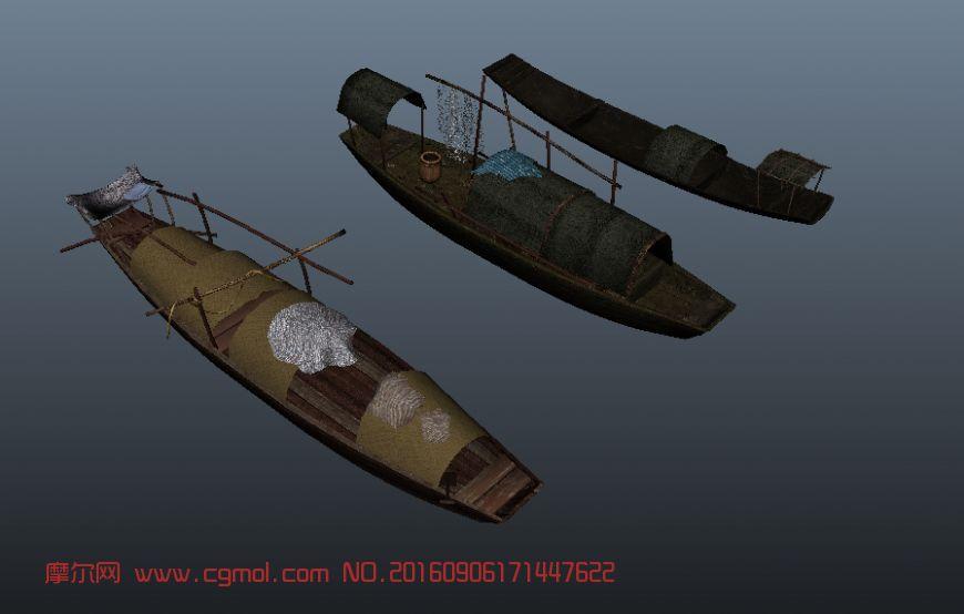 三艘渔船obj模型(贴图需自行调整)