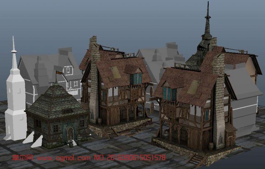 室外建筑模型下载_中世纪民房建筑配楼maya模型,国外建筑,建筑模型,3d模型下载,3D ...