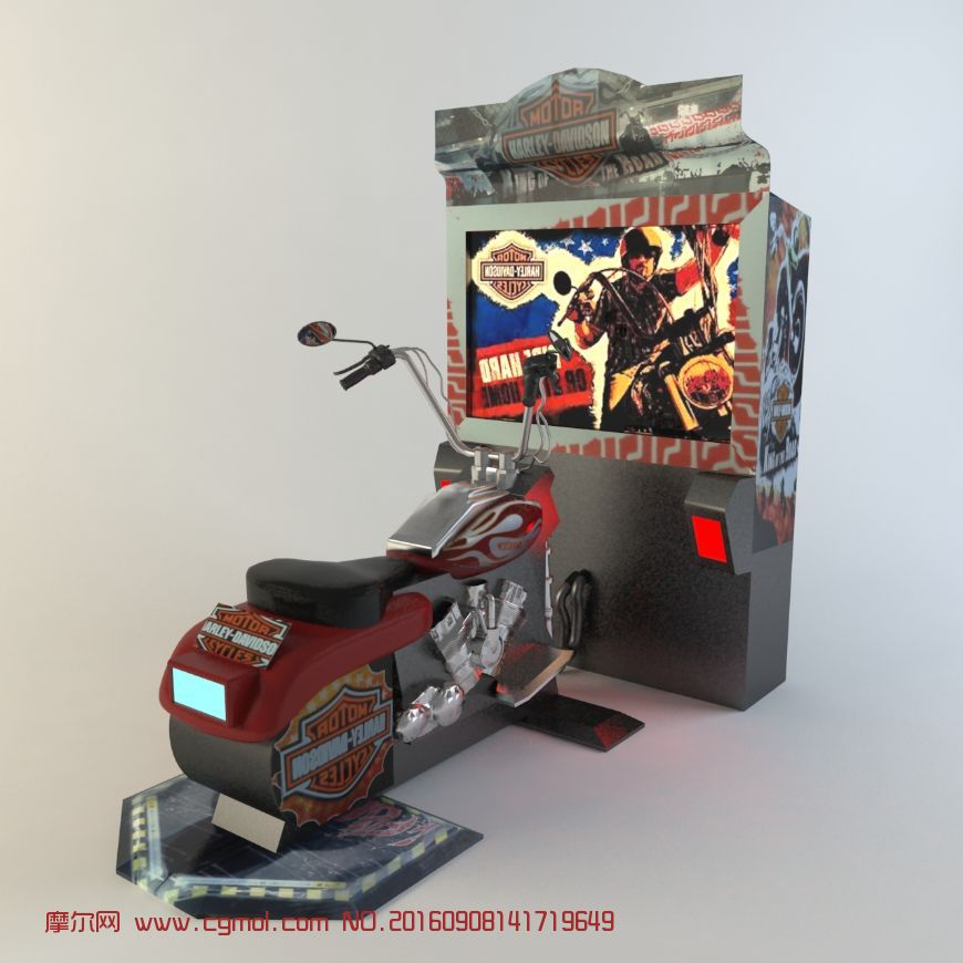 赛车摩托车游戏机3d模型