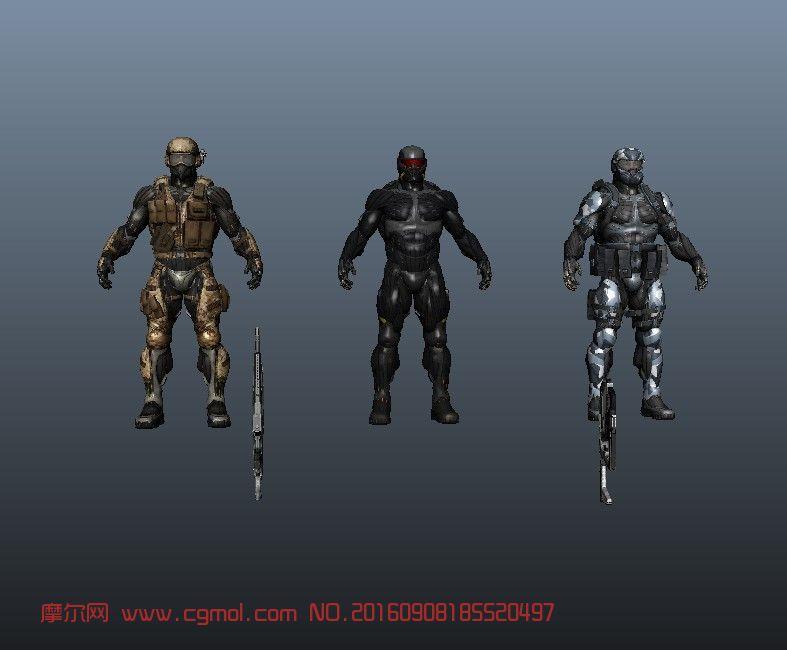 《孤岛危机2》3个角色maya模型