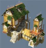破损的日式海边房屋建筑,3转2