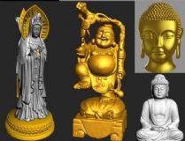 哭泣的佛像,多面观音,菩萨,罗汉组合3D模型