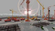 工地挖土打桩阶段的日出施工场景动画(网盘下载)