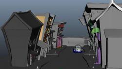 Q版街道,带卡通小汽车maya模型
