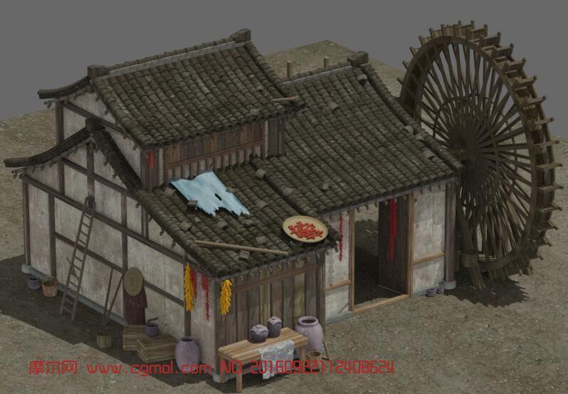 场景模型 古代场景  标签:水车木房子游戏民宅民房农民房屋 作品描述图片
