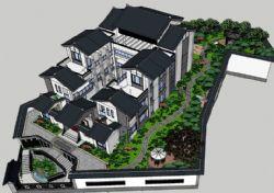 中式�e墅庭院