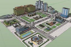 城市广场规划建筑su模型