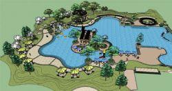 大型精细公园景观设计su模型