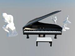 黑色钢琴加雕塑