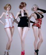 露点性感护士装,齐B裹胸装女郎组合3D模型(网盘下载)