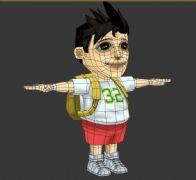 卡通背包男孩模型,有FBX文件