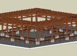 中式正方形廊架