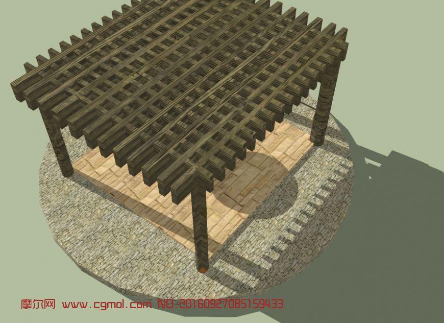 正方形木质廊架亭子
