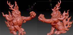 精细雕刻的麒麟兽zbrush模型(网盘下载)