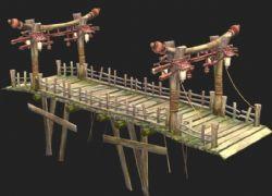 游?#20998;?#30340;古代木桥3D模型
