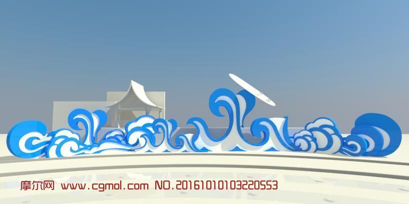 波浪中式景观墙
