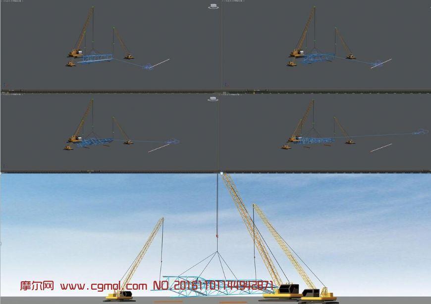 机械模型 其他  标签:构件吊装翻身镜头动画 作品描述:钢结构吊装动画