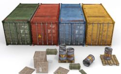 集装箱,木箱,油桶场景