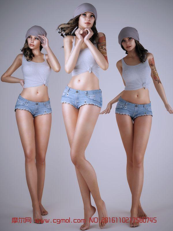 齐B牛仔短裙纹身运动女孩