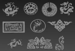 古代龙凤雕刻花纹