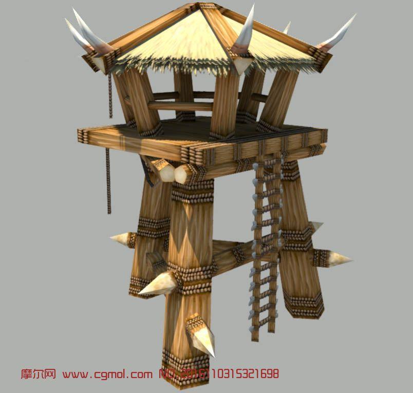 古时候的哨塔maya模型