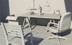 破旧的办公室桌椅maya模型