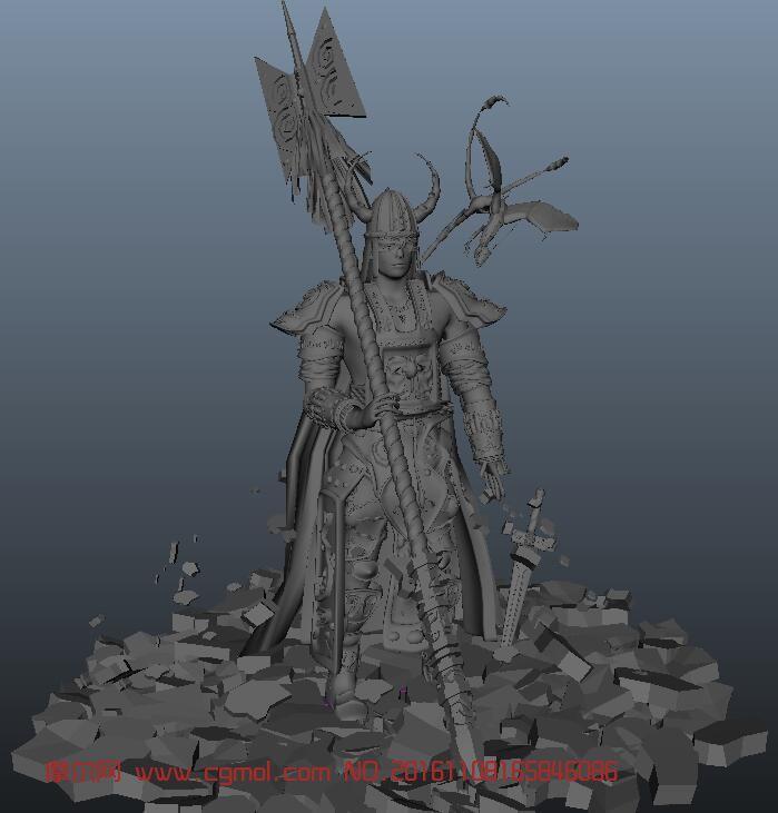驯龙牛角战士maya模型