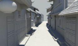 古镇街道场景3D模型