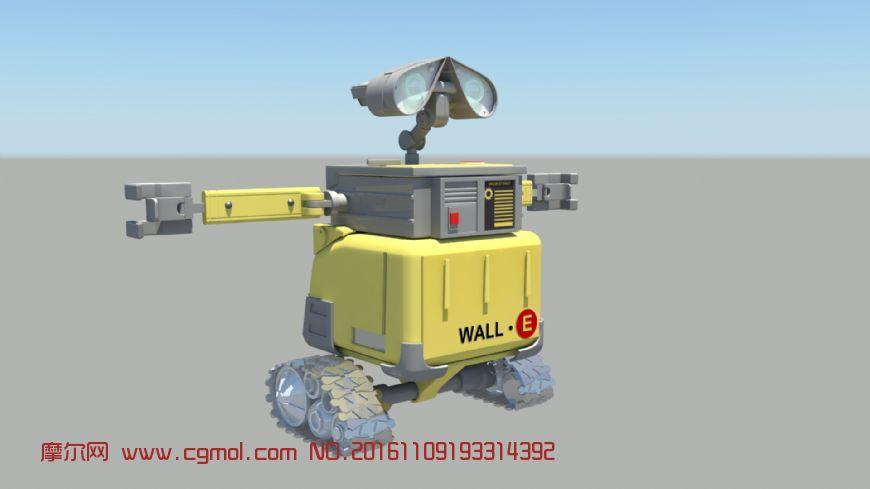 maya瓦力机器人,带贴图材质