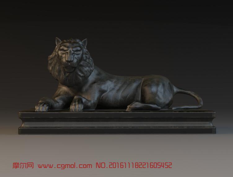 青铜雄狮雕塑模型 ,可3D打印
